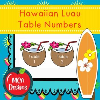 Hawaiian Luau - Table Numbers