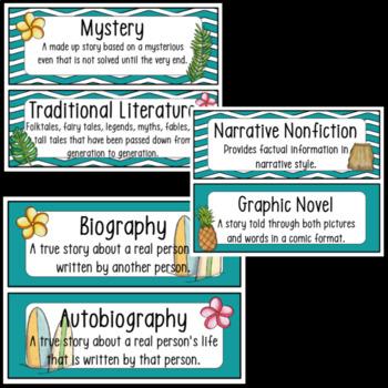 Hawaiian/Luau Theme Reading Genres ~ Tropical