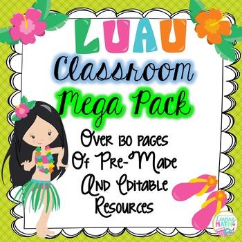 Hawaiian Luau Tropical Theme Classroom Decor -EDITABLE