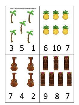Hawaiian Lu'au themed Count and Clip math numbers cards.  Preschool math.