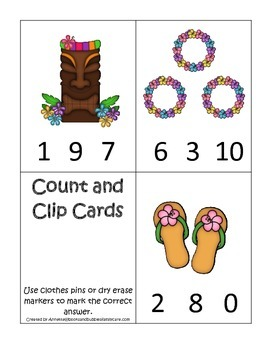 Hawaiian Lu'au themed Count and Clip math numbers cards.