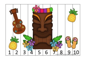 Hawaiian Lu'au themed Number Sequence Puzzle math activity.  Preschool math.