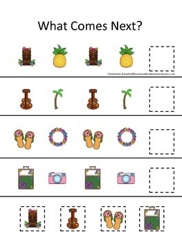 Hawaiian Lu'au themed What Comes Next math game.  Preschool basic math activity.