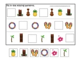 Hawaiian Lu'au themed preschool educational game.  Fill in the Missing Pattern.