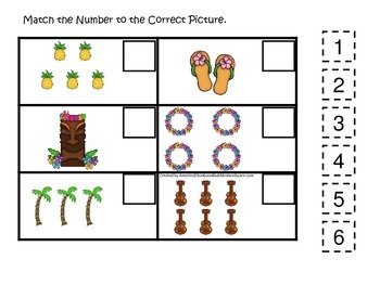 Hawaiian Lu'au themed preschool educational game.  Match the Number.