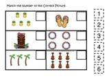 Hawaiian Lu'au themed preschool educational game.  Match the Number.