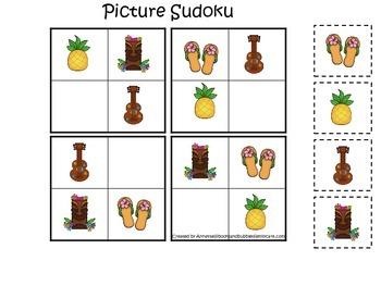 Hawaiian Lu'au themed preschool educational game.  Picture