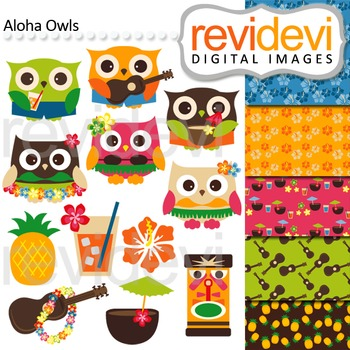 Hawaiian Owls Clip art and digital papers