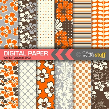Hawaiian Print Digital Papers, Tropical Digital Backgrounds, Orange Brown Silver