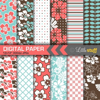 Hawaiian Print Digital Papers, Tropical Digital Backgrounds, Turquoise, Coral