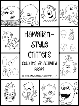Hawaiian-Style Critters:  Coloring & Activity Pages