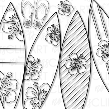 Hawaiian Surfing Clip Art (Digital Use Ok!)