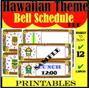 Hawaiian Theme Bell Schedule Labels
