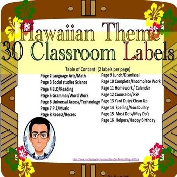 Classroom Labels: Hawaiian Theme