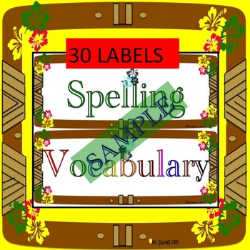 Classroom Labels: Hawaiian Theme