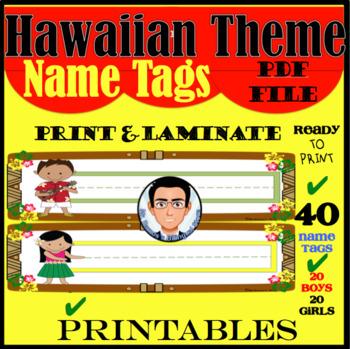 Hawaiian Theme Name Tags
