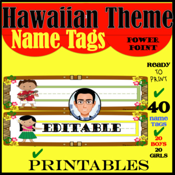 Hawaiian Theme Name Tags Editable