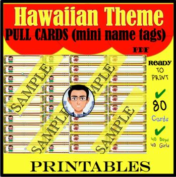 Hawaiian Theme Pull Cards (mini name tags)