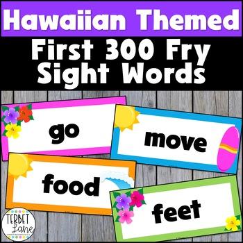 Hawaiian Themed Fry First 300 Sight Word Cards