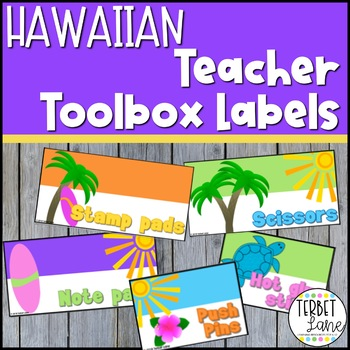 Editable Hawaiian Themed Teacher Toolbox Labels