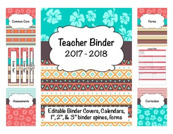 Hawaiian/Tribal Teacher Binder 2017-2018 Editable Covers/Spines/Forms/Calendars