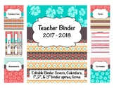 Hawaiian/Tribal Teacher Binder 2017-2018 Editable Covers/S