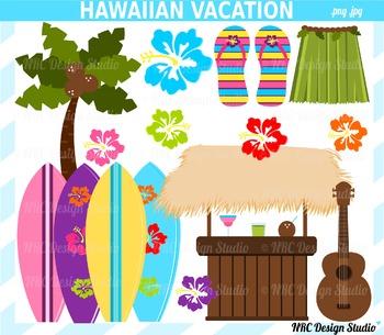 Hawaiian beach clipart commercial use