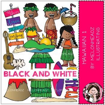 Hawaiian clip art - Set 1 - BLACK AND WHITE - Melonheadz Clipart
