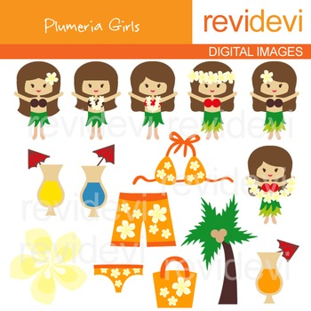 Hawaiian girls clip art (hawaii, plumeria, luau, dancing) clipart