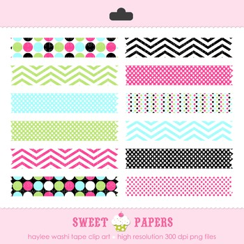 Haylee Polkadot Washi Tape Digital Clip Art Set - by Sweet Papers