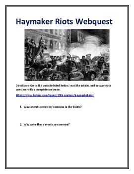 Haymarket Riots Webquest (Gilded Age) With Answer Key!