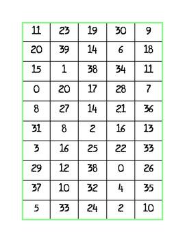 Haz 4: Numbers 0-39