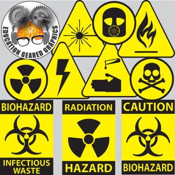 Hazard symbols for classroom and commercial use