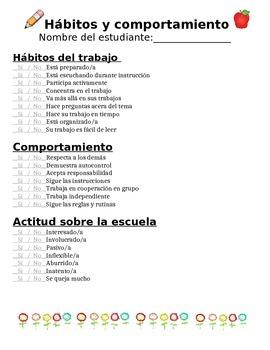 Hábitos y comportamiento para conferencias/ Habits and Behavior Conference Sheet