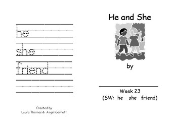 He And She  Sight Word Book - Week 23