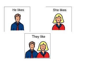 He Likes, She Likes, They Like - Boardmaker