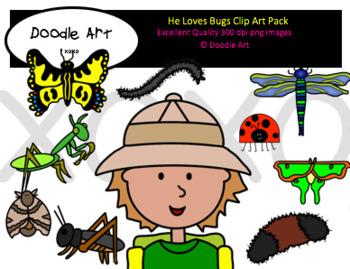 He Loves Bugs Clipart Pack