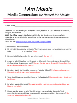 He Named Me Malala- Viewing Guide and related materials (Now Editable!)
