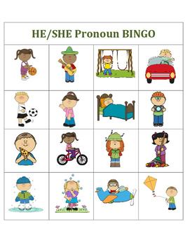 He/She Pronoun Bingo