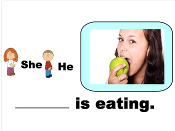 He/She Pronouns + verb-ing - SmartBoard Activity