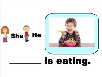 He/She Pronouns + verb-ing - SmartBoard Activity