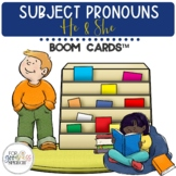 Subject Pronouns He and She BOOM Cards™ Task Cards Distanc
