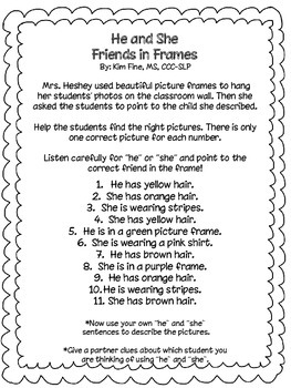 He and She Pronoun Practice with Friends in Frames