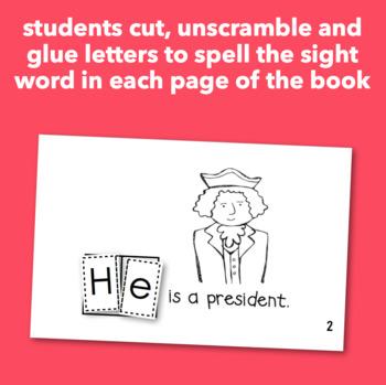 "Interactive Sight Word Reader ""He is George Washington"""