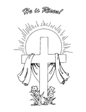 He is Risen! Easter Cross Coloring Page