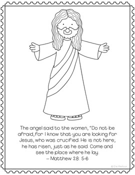 He is Risen, Jesus is Alive Coloring Page Craft or Poster, Bible Verse, Easter