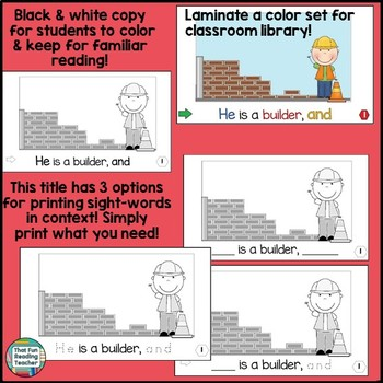 Guided Reading: Level B Community Helper Sight Word Reader and Activities!