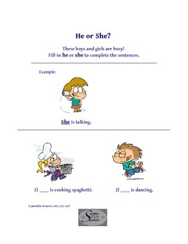 """He or She?"" Pronoun Worksheet"