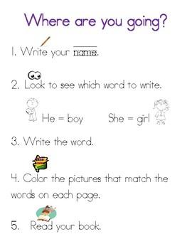 He, she Sight Word Mini Book