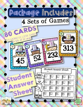 Head Band 10 More and 10 Less Game for 2nd Graders